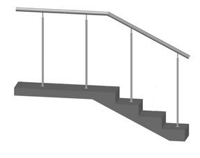 Лестничное ограждение без ригелей, стойки через 1 ступень