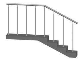 Лестничное ограждение без ригелей, стойки на каждой ступени