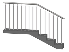 Лестничное ограждение без ригелей, стойки 2 шт. на каждой ступени