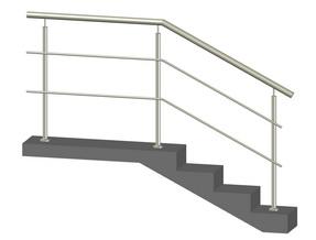 Лестничное ограждение с 2-мя ригелями, стойки через 2 ступени