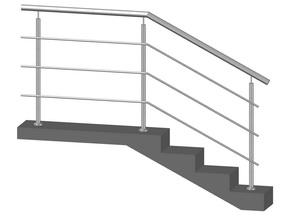Лестничное ограждение с 3-мя ригелями, стойки через 2 ступени