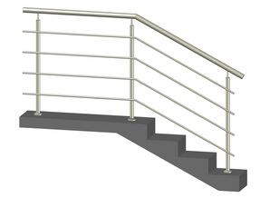Лестничное ограждение с 4-мя ригелями, стойки через 2 ступени